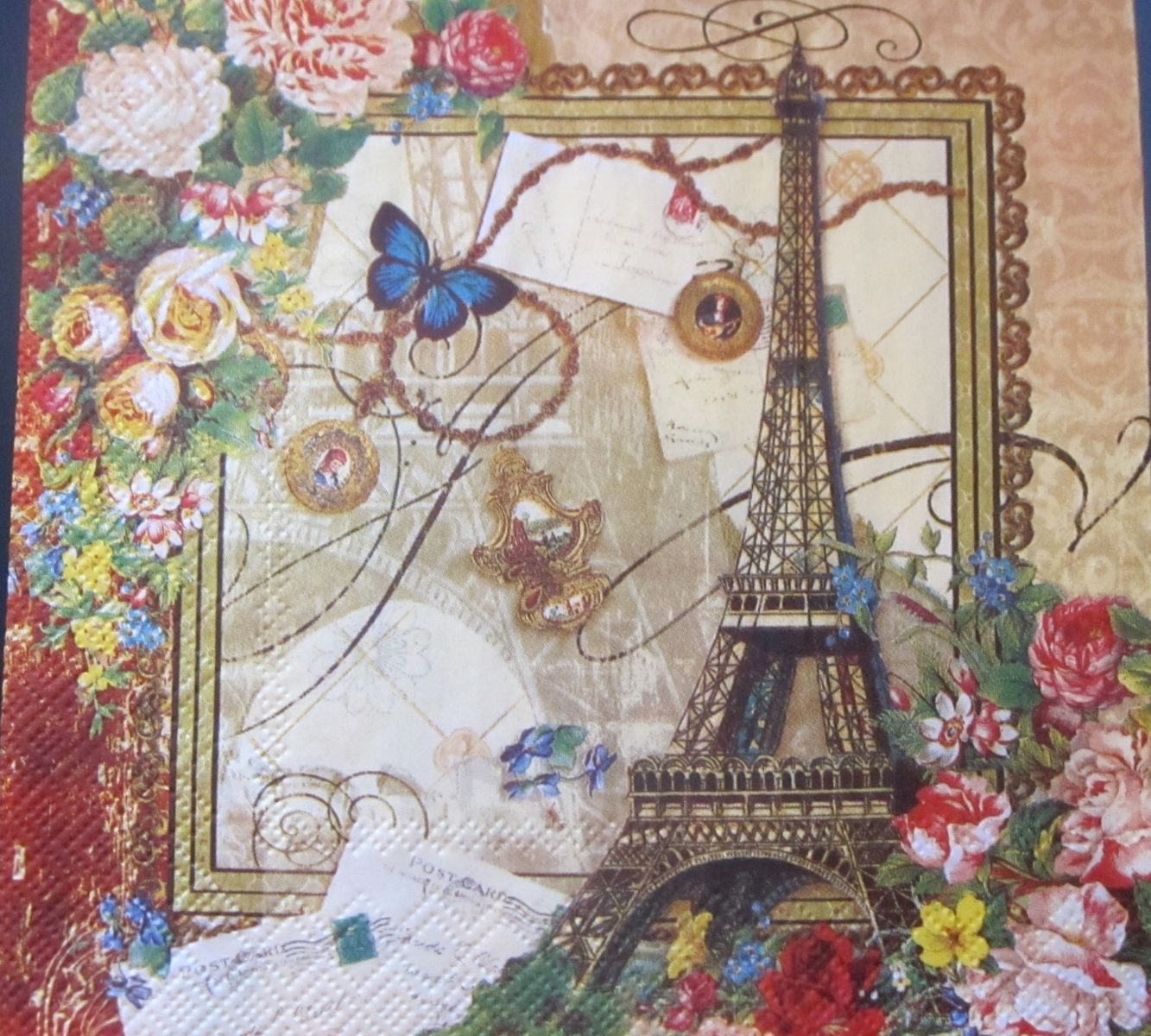 hand crafted love paris paper napkins decoupage scrapbooking supplies art by inapkined. Black Bedroom Furniture Sets. Home Design Ideas