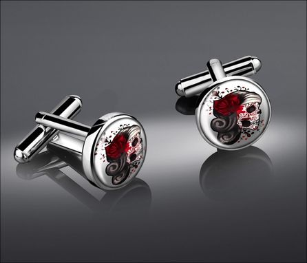 Custom Made Dia De Los Muertos Girl Skull Silver Cufflink Set