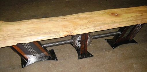 Custom Made Large Industrial Bench With A Massive Spalted Sycamore Slab...