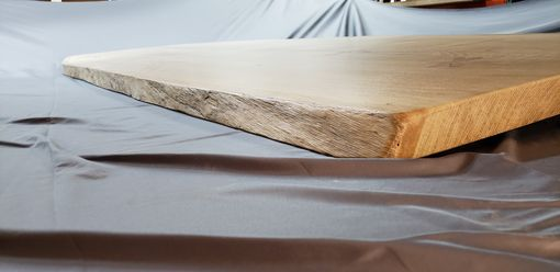 Custom Made Live Edge Solid Oak Dining Table Top With Dragonfly Epoxy Accents