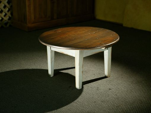 Custom Made Round Antique Walnut Coffee Table
