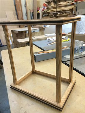 Custom Made Wood And Glass Display Case - Red Oak/Peruvian Walnut Inlay - Other Wood Combinations Available