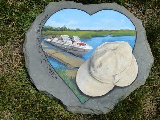 Custom Made Memories  Painted On Stone, Motor Boat And Fiahing Hat
