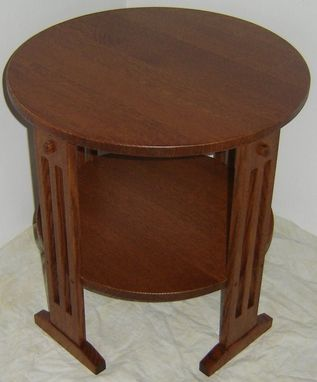 Custom Made New Mission Style Solid Quarter Sawn Red Oak Wood Round Bedside | Bedroom | Living Room End Table | Night Stan