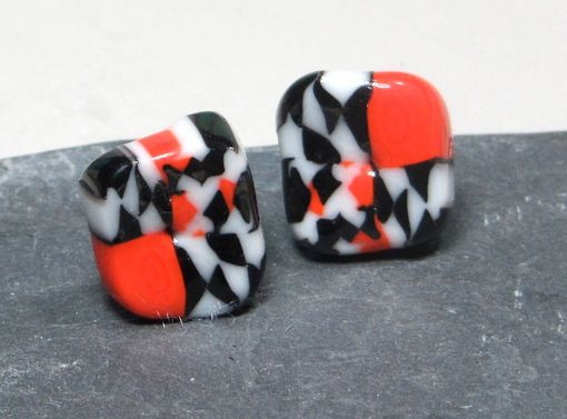 Custom Made Post Glass Earrings Stud Black White Red Murrini Tiles