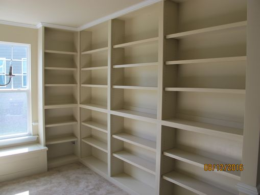 Custom Made Custom Built-In Bookcases With Window Seat