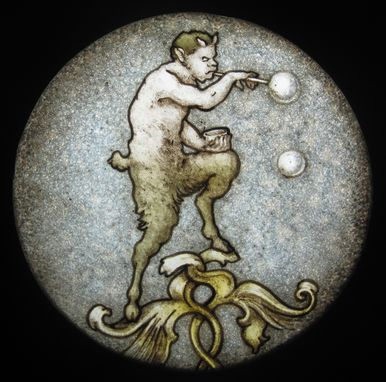 Custom Made Small Satyr Stained Glass Medallion