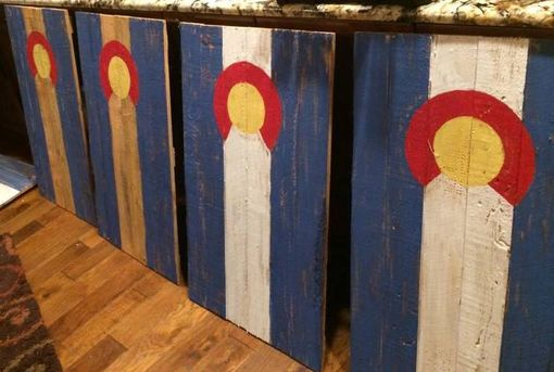 Custom Made Colorado Pallet Wood Flag-  Custom Reclaimed Wood State Or Flag Of Choice