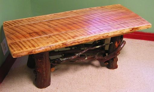 Rustic Coffee Table With Mountain Laurel Base Log Cabin Furniture - Hand Crafted Rustic Coffee Table With Mountain Laurel Base Log