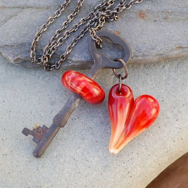Custom Made Skeleton Key Necklace, Handmade Glass Beads, Heart Pendant, Steampunk Valentine Jewelry, Red