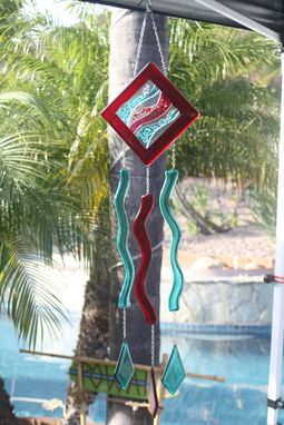 Custom Made Glass Wind With Red Waves Design