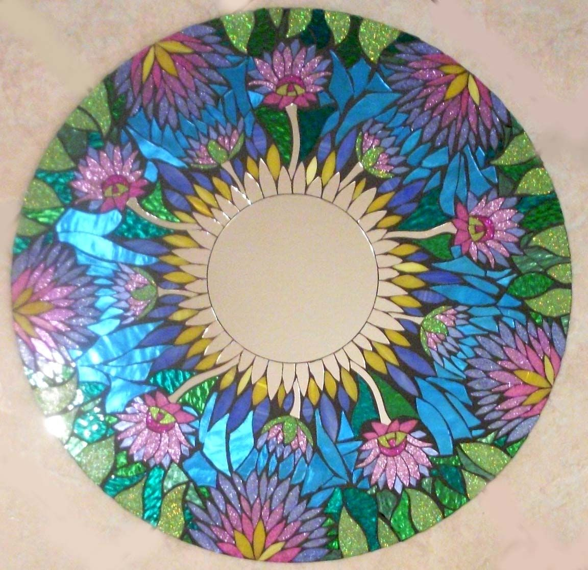 Hand Made Mosaic Stained Glass Mirror By Sol Sister