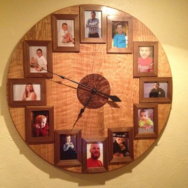 Custom Made 3 Foot Oak And Black Walnut Family Picture Wall Clock
