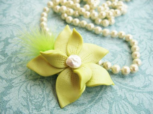 Custom Made Polymer Clay Flower And Freshwater Pearl Brooch - Accessorize Anything