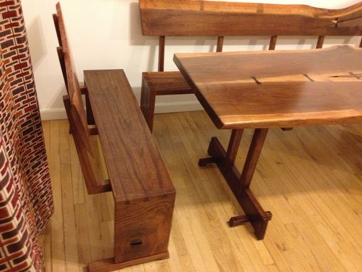 Custom Made Walnut Dinning Table With Benches