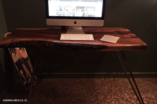 Custom Made Black Walnut Desk With Hairpin Legs