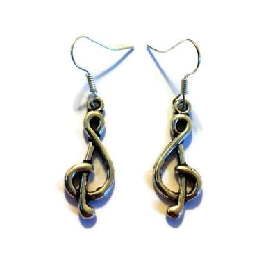 Custom Made Silver G-Clef Earrings - Treble Clef Earrings