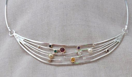 Custom Made Sterling Silver Neckpiece With Gemstones