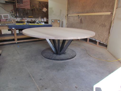 "Custom Made 90"" Round Oak Dinning Table With Steel Base"