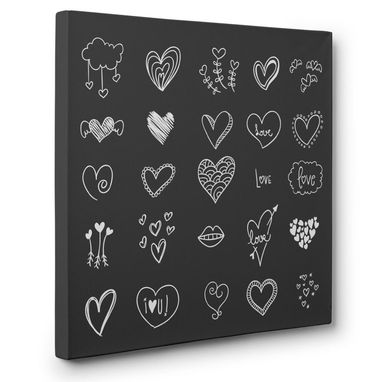 Custom Made Grey And White Hearts Canvas Wall Art