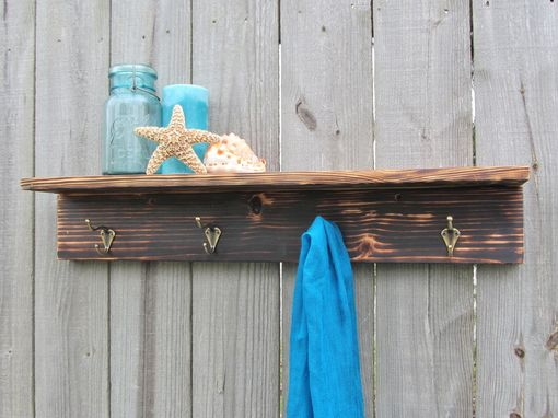 Custom Made Rustic Wood Shelf With Hooks Made From Reclaimed Pallet Wood Coat Rack