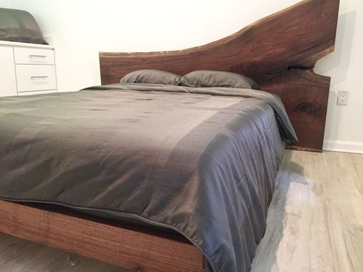 Custom Made Wild Walnut Platform Bed With Large Headboard