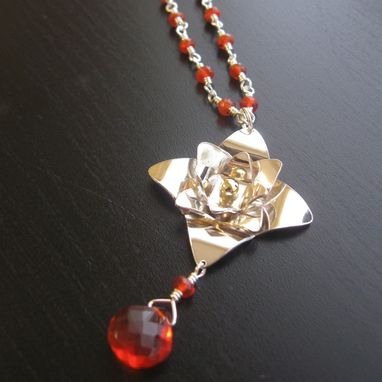 Custom Made My Mom's Favorite Large Lotus Necklace With Fire Opal