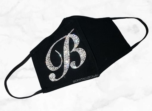 Custom Made Custom Initial Mask Crystallized Bling W/Swarovski Crystals Black Non Medical Fashion Face