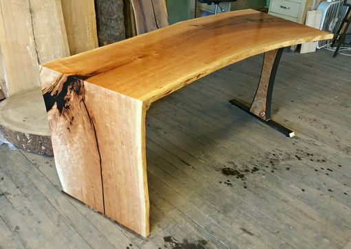 Custom Made Cherry Desk With Waterfall Edge And Steel Leg