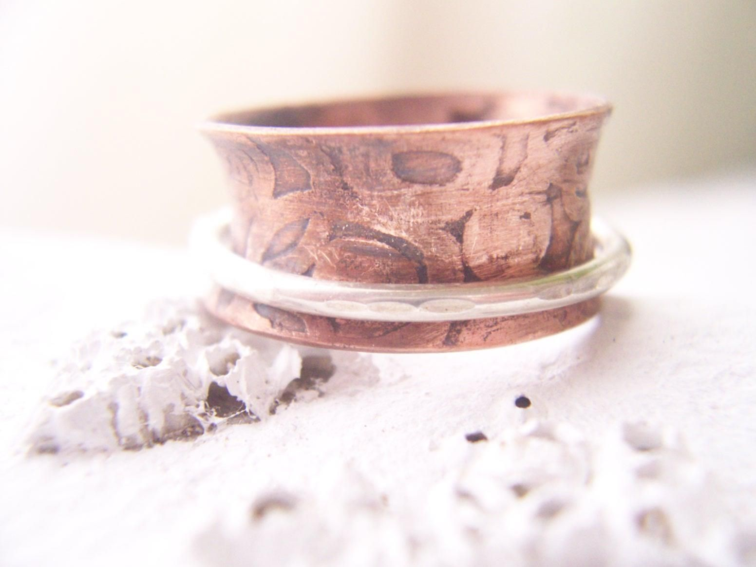 Handmade Sterling Silver And Etched Copper Spinner Ring by Freckle ...