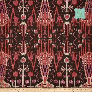 "Custom Made Custom Designer Draperies: Lacefield Bombay Raspberry Red Pink Brown Linen 108""L X 50""W"