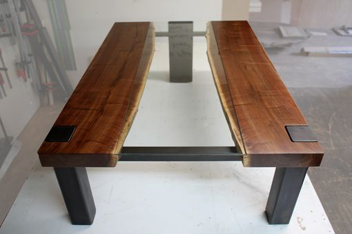 Custom Made Modern Live Edge And Glass Coffee Table