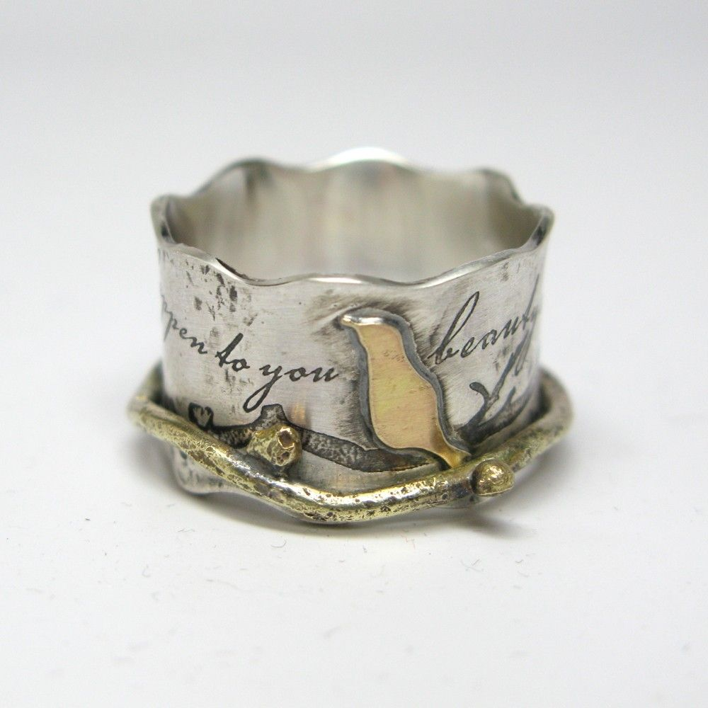 made custom birds on a branch spinner ring by janice