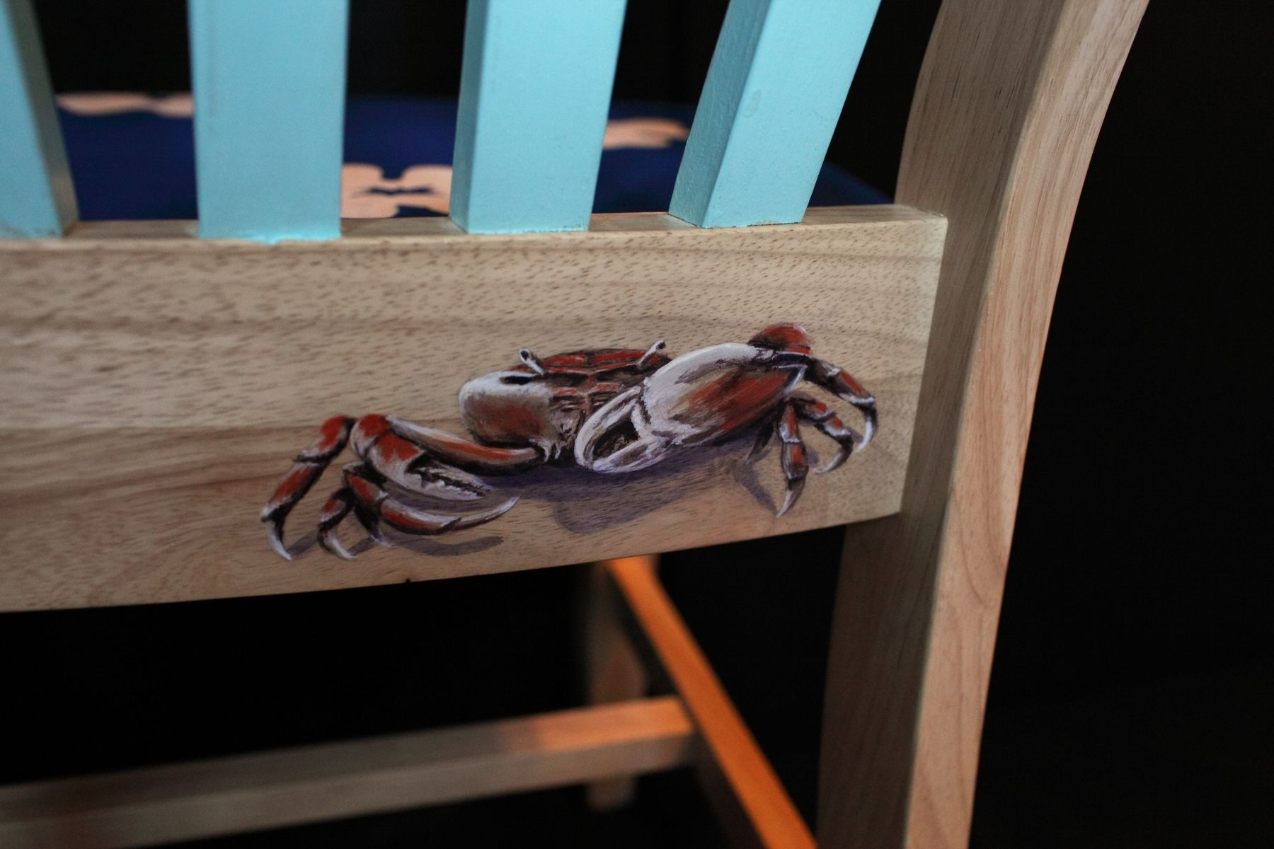 Hand Made Hand Painted Hawaiian Print Surfboard Chair by Lara Eve