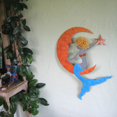 Custom Made Metal Wall Art Sculpture Of Mermaid, Metal Wall Decor, Mermaid Hanging Wall Art,