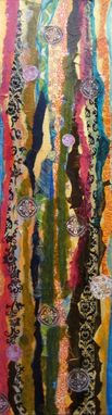 "Custom Made Abstract Original Collage Painting-10""X36"" Brown Green Blue Yellow By Devikasart"
