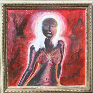"Custom Made Original Art Print- Home Decor- ""Spacey Lady""- Goddess Art- Fantasy- Cosmos- 12 X 12"