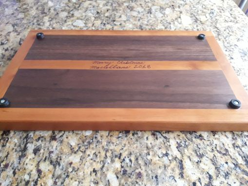 Custom Made Walnut And Cherry Cutting Board With Cherry Inlay