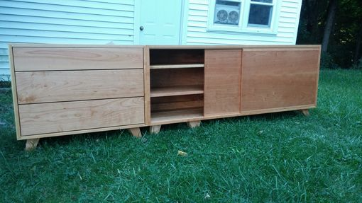 Custom Made Cherry Modular Media Cabinet.