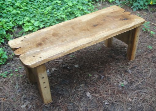 Custom Made Table Or Bench In Solid Pecan With Live Edges And Hand Rubbed Tung Oil Finish