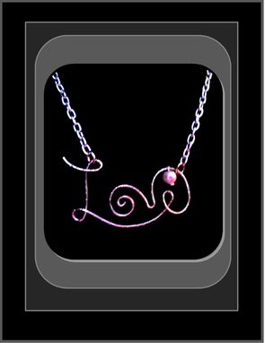 Custom Made Love Necklace With Pink Freshwater Pearl