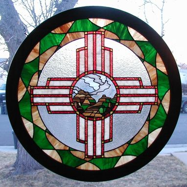 Custom Made Zia Sun Symbol - Southwest Stained Glass