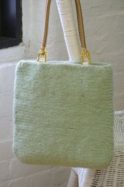 Custom Made New For Spring. Sleek, Simple Very Mint Felted Wool Tote With Gold Handles