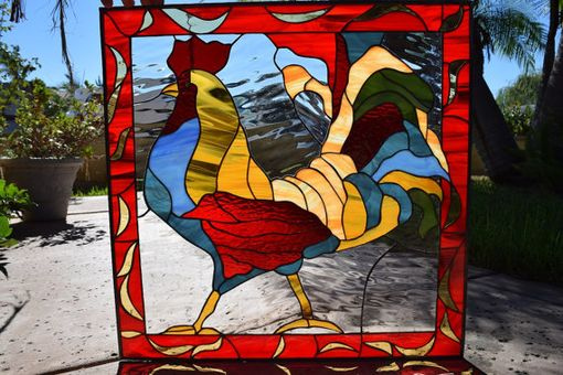 Custom Made Colorful Rooster Stained Glass Window