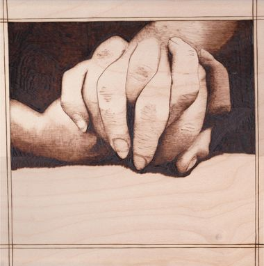 Custom Made Woodburn Pyrography Of Two Clasped Hands