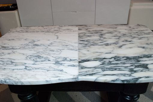 Custom Made Marble Table With Wooden Frame