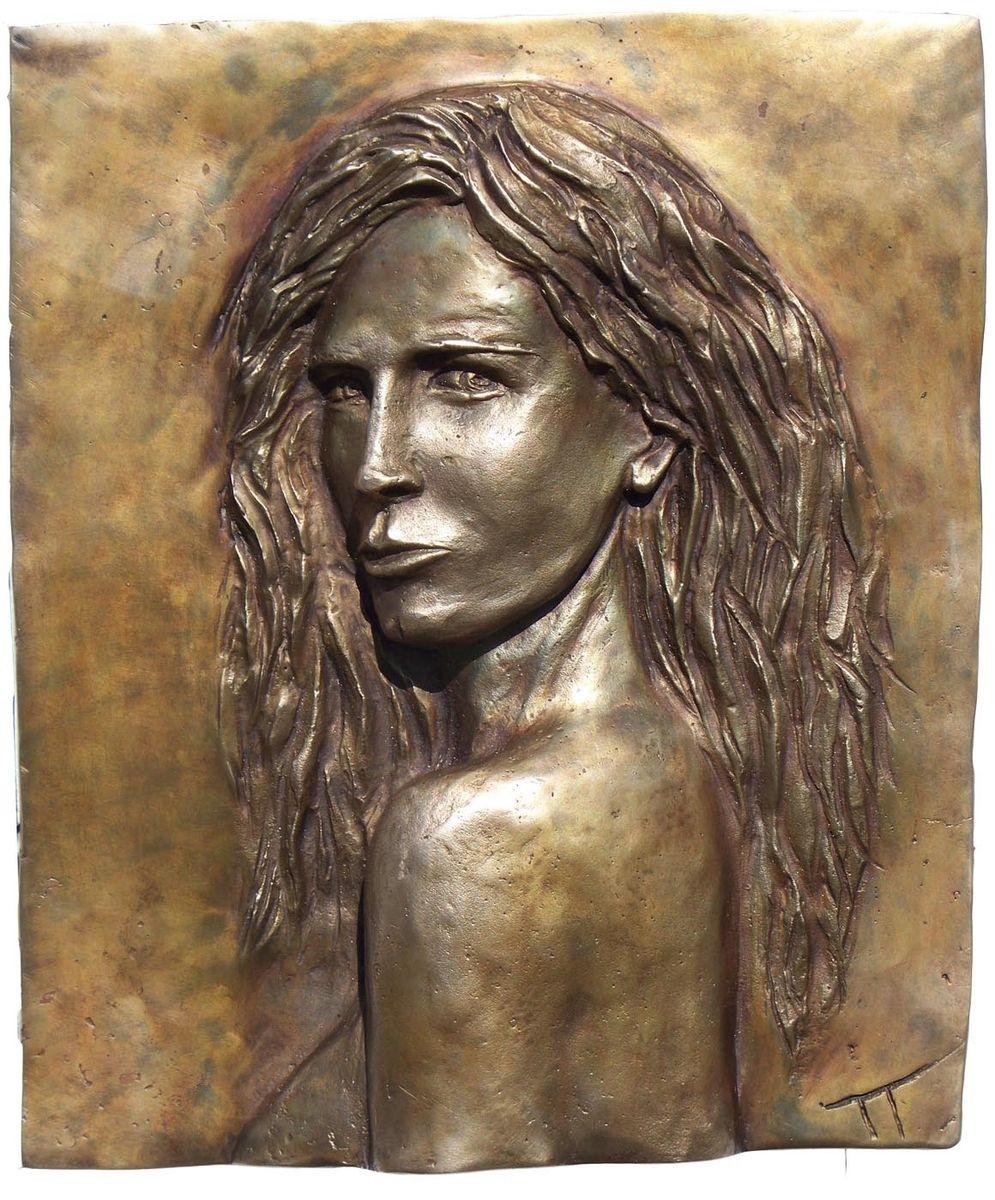 Hand made hot cast bronze bas relief portrait of eva green