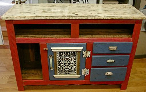 Custom Made Entertainment Console In Dragon's Blood Red & Farmhouse Blue
