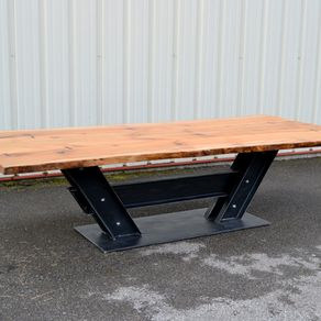 Hand Made Vintage Industrial I Beam Conference Table By