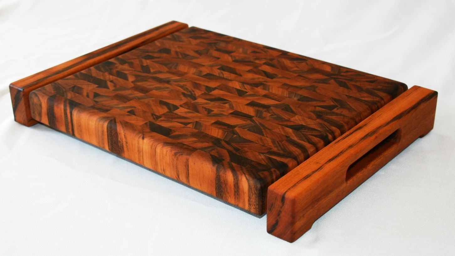 Hand made tigerwood end grain cutting board by carolina for Cutting board designs